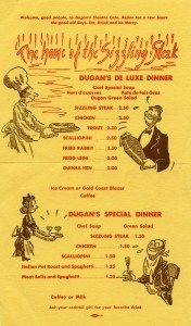 Dugan's Cafe, Menu, Park and Hollis Streets, Emeryville, California