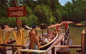 Eager passengers aboard one of Indian Jim's canoes, Frontier Village, San Jose, California