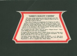 Elegant Farmer, Jack London Square, Oakland, California, menu back