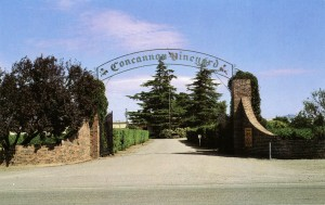 Entrance to Concannon Vineyard, Livermore, California, mailed 1983