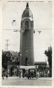 Entrance Tower, Neptune Beach, California, mailed 1931
