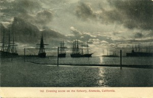 Evening scene on the Estuary, Alameda, California, mailed 1908