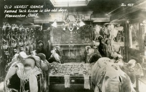 Famed Tack Room in the old days, Old Hearst Ranch, Pleasanton, Califonria