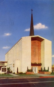 First Methodist Church, built in 1950, San Leandro, California, mailed 1957
