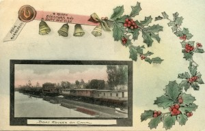 From Alameda, Cal., Boat Houses on Canal, mailed 1910