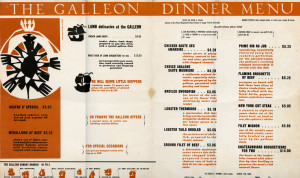 Galleon Restaurant, on the Pacific Marina, Alameda, California, menu