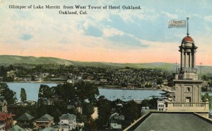 Glimpse of Lake Merritt from West Tower of Hotel Oakland, Oakland, Cal.