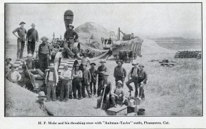 H. P. Mohr and his threshing crew with Aultman-Taylor outfit, Pleasanton, California