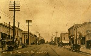 Looking up Castro St., Hayward, Cal.
