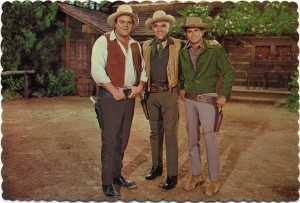 Hoss, Ben and Little Joe relax in front of the Ranch House, Ponderosa Ranch, Incline Village, Nevada