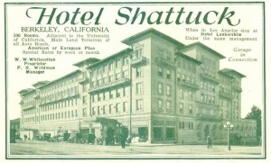 Hotel Shattuck, Berkeley, California, 1920 ad (from Automobile Blue Book)