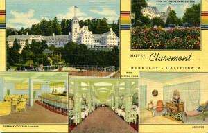 Hotel Claremont, Berkeley, California, view of garden, dining room, lounge, bedroom