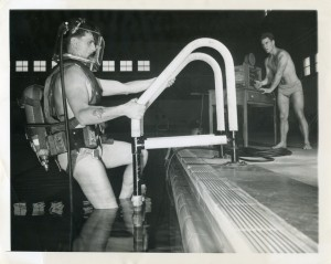 Howell Kiernan at Indoor Pool at Alameda Naval Air Station, Alameda, California, Dec. 1950