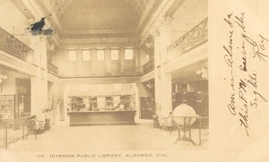 Interior Public Library, Alameda, California, mailed 1907