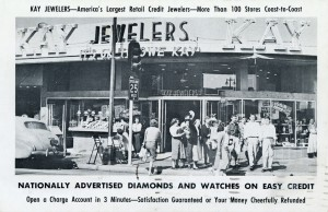 Kay Jewelers, 580 Foothill Blvd., Hayward, California, old postcard mailed in 1956