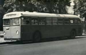 Key System Transit Lines No. 319 at Santa Clara Ave. and High Street, Alameda, California, Aug. 23, 1947