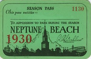 Season Pass, Neptune Beach, Alameda, California, 1930