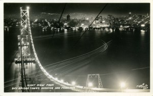 Night View from Bay Bridge Tower Showing  San Francisco
