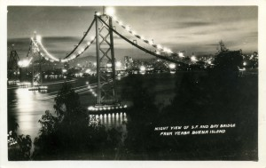 Night View of S. F. and Bay Bridge from Yerba Buena Island