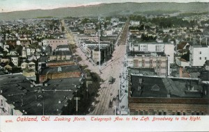 Telegraph Ave. to the Left, Broadway to the Right, Looking North, Oakland, Cal.