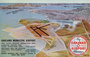 Oakland Airport, Present and Future Runways, mailed 1947