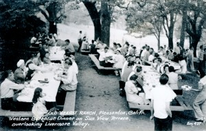 Old Hearst Ranch, Pleasanton, California. Western Barbecue Dinner on Sun View Terrace, overlooking Livermore Valley