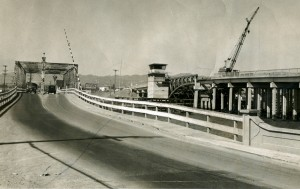 Old and New Bridge from Bay Farm Island, Alameda, California, 1953