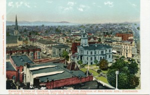 Panorama View of Oakland. Looking North from Junction of San Pablo Ave., Fourteenth St. and Broadway, Showing City Hall in Foreground.