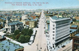 Panorama of Oakland, California. City Hall to the left; First National Bank Bldg. to the right.