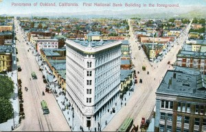 Panorama of Oakland, California. First National Bank Building in the foreground.