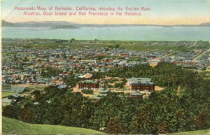 Panoramic View of Berkeley, California, showing the Golden Gate, mailed 1910