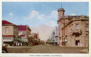 Park Street at Central Ave., looking north,Alameda, California
