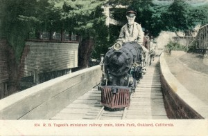R. B. Tageol's miniature railway train, Idora Park, Oakland, California
