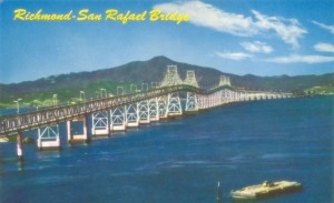 Richmond - San Rafael Bridge, Mt Tamalpais  seen in Background