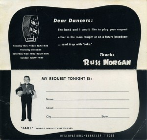 Russ Morgan and his Orchestra, Claremont Hotel, Berkeley, California, Request Card