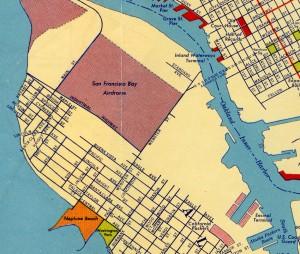 San Francisco Bay Airdrome, Alameda, California, Seen on 1939 Map