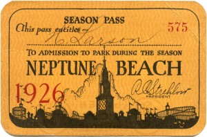 Season Pass, Neptune Beach, Alameda, California, 1926