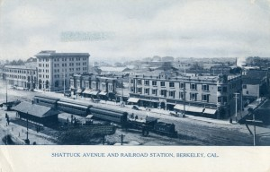 Shattuck Avenue and Railroad Station, Berkeley, California, mailed in 1908