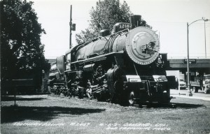 Southern Pacific Train on Display near Posey Tube, Oakland, Cal.