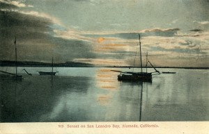 Sunset on San Leandro Bay, Alameda, California