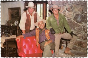 The Cartwrights, Hoss, Ben and Little Joe, relax in the living room, Ponderosa Ranch, Incline Village, Nevada