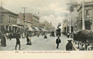 The business center, Park Street at Central Ave., looking north, Alameda, California