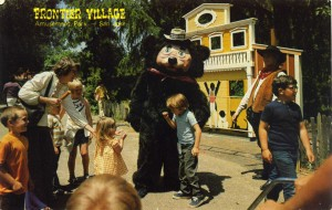 Theodore Bear greets guests at Frontier Village, San Jose, California