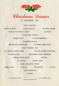 U. S. Coast Guard, Government Isalnd, Christmas Menu, Dec. 25, 1951