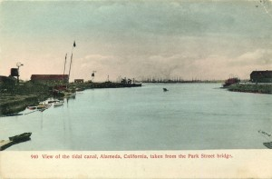 View of the tidal canal, Alameda, California, taken from the Park Street bridge.