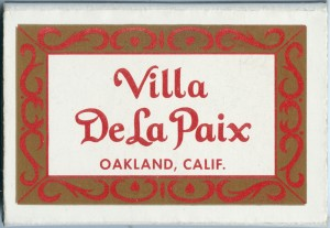 Villa De La Paix Jack London Square Oakland California match box