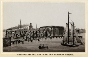 Webster Street Bridge, between Oakland and Alameda, old engraving circa 1880s